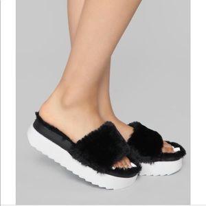 Shoes - Furry Platform Sandals